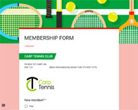 Become a Carp Tennis Member by Online Submission